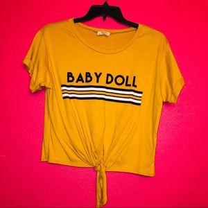 Mustard Babydoll tie front tee